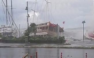 Balıkesir'in Ayvalık ilçesinde sabah saatlerinde etkili olan şiddetli fırtına hayatı felç etti